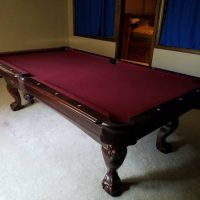 Burgundy Felt Pool Table